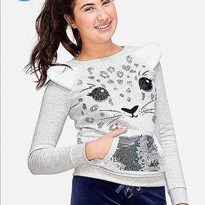 Justice fuzzy fleece leopard sweater top